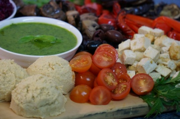 Herb oil, tofu, hummus, char-grilled vegetables
