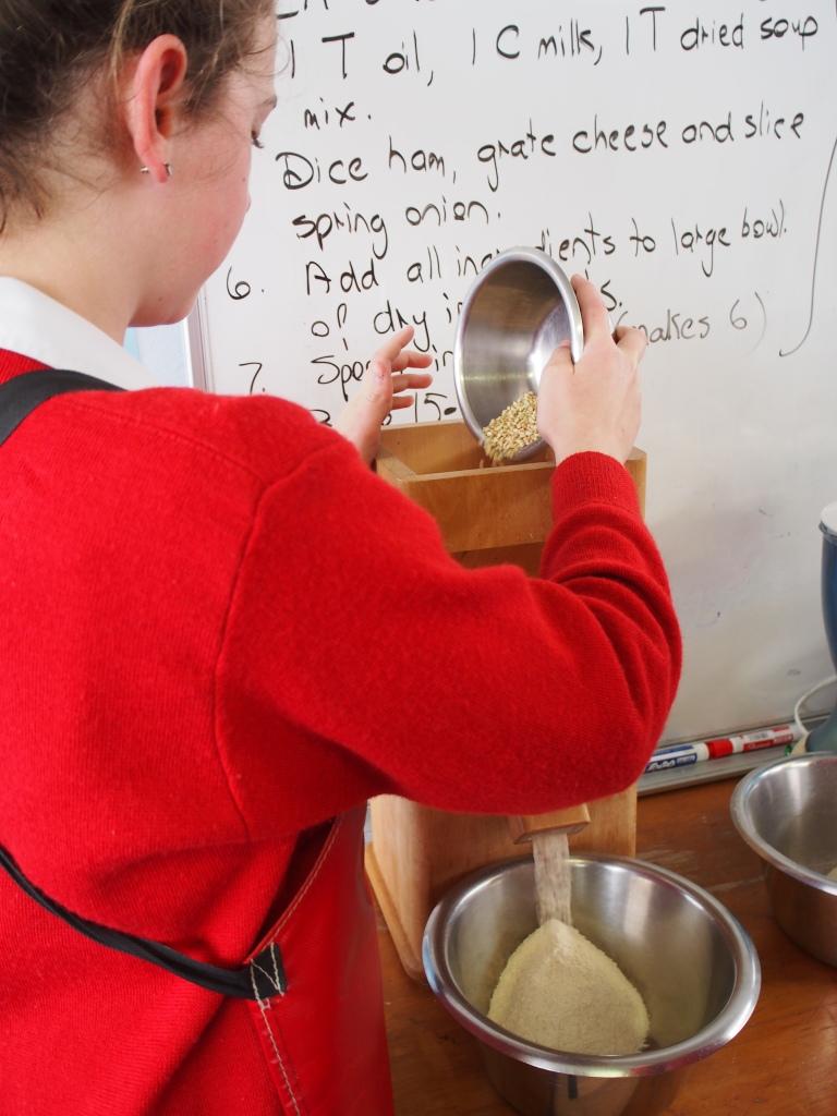 Milling the grain into fresh flour