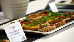 Wholegrain Rolls topped with sundried tomato & walnut pesto, vegan cream cheese and pumpkin hummus.