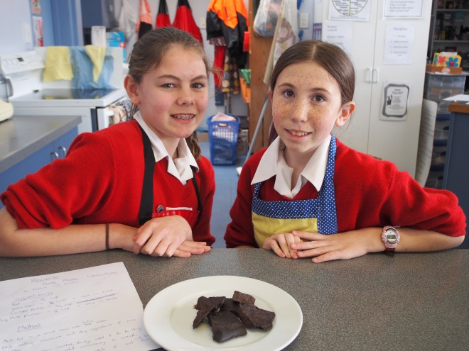 Given four ingredients these girls came up with their own recipe for some pretty good tasting carob chocolate.