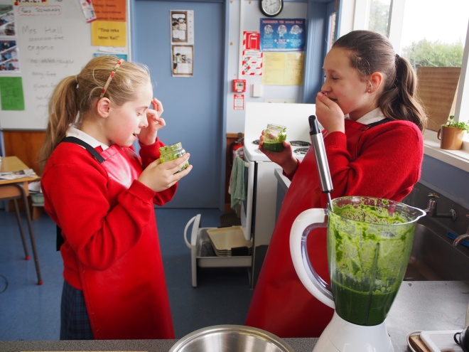 Tasting the green smoothies - mmm might need some more apple juice or frozen banana?