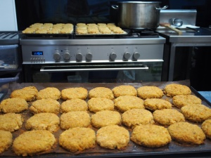 Chickpea patties out of the oven