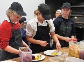 Plating up the salads