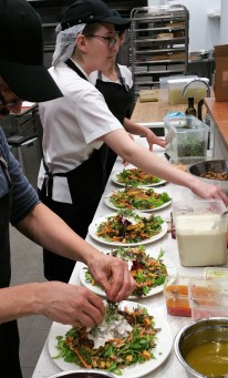Plating up the dinner