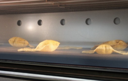 tacos baking in the pizza oven
